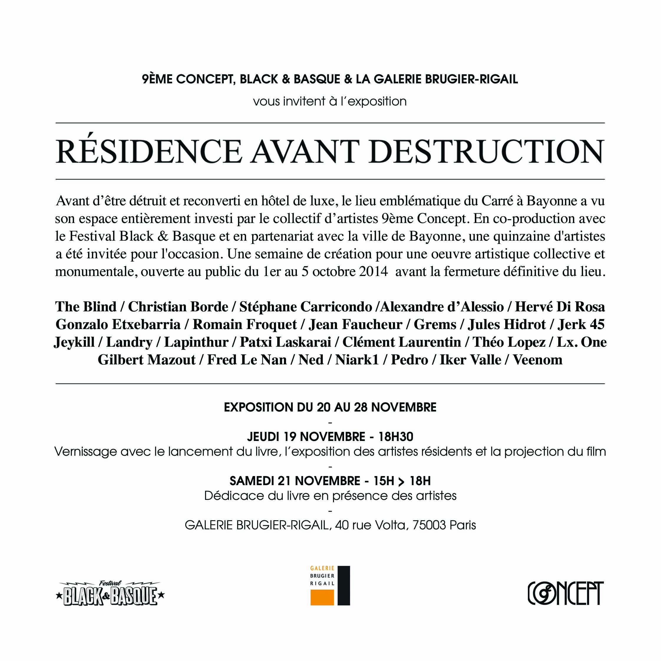 RESIDENCE AVANT DESTRUCTION EXPO GALERIE BRUGIER RIGAIL 2015 LANCEMENT LIVRE